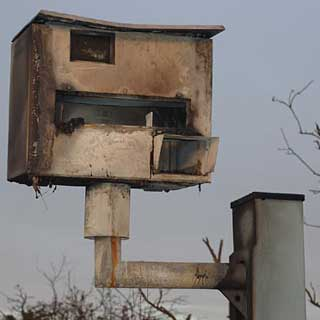 Burned out speed camera