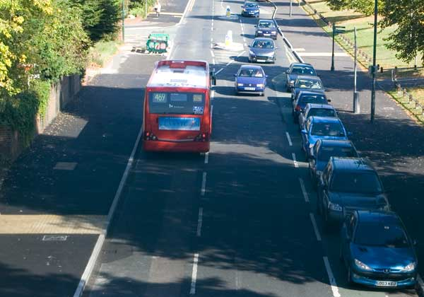 Bus fills the carriageway